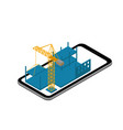 mobile phone isometric construction 3d crane at a vector image