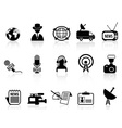 news reporter icons set vector image