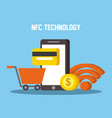nfc technology mobile phone shopping cart wifi vector image