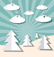 Paper Winter Landscape with Trees and Clouds vector image vector image