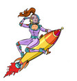 pinup female astronaut flying on a rocket a woman