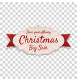 realistic greeting merry christmas badge vector image vector image