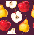 seamless apple and pear vector image vector image
