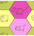 Seamless background with domestic animal kids draw vector image vector image