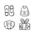 set babies tool and present gift vector image vector image