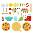 set seafood pizza icons flat vector image