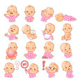 set with baby stickers vector image vector image