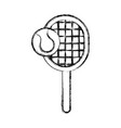 sketch draw tennis racket and ball cartoon vector image