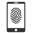 smartphone fingerprint flat icon vector image vector image