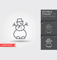 snowman line icon with editable stroke vector image vector image
