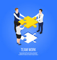 teamwork isometric puzzle concept vector image vector image
