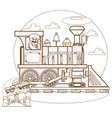the old steam locomotive railway transport vector image
