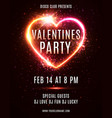 valentines day party flyer poster design template vector image