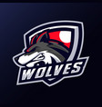 wolves head mascot logo vector image