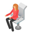 woman at boss chair icon isometric style vector image
