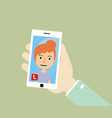 hand holding smart phone and make a video call vector image