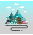Road to the mountains Winter time flat landscape vector image