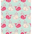seamless pattern with cute wales vector image