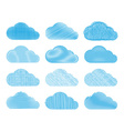 set of clouds with different types of pencil vector image