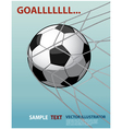 soccer ball in the goal net on the blue background vector image