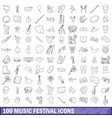 100 music festival icons set outline style vector image vector image