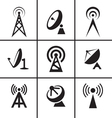 Antenna and satellite dish icons set vector image vector image