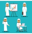 Arab man character in different business vector image vector image