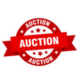 auction ribbon auction round red sign auction vector image vector image