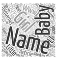 Baby Names text background wordcloud concept vector image vector image