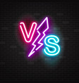 blue and pink glowing neon symbol versus battle vector image