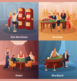 casino concept icons set vector image vector image