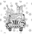 Christmas car gift doodle zentangle vector image