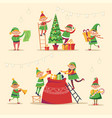 christmas winter holiday elves getting ready for vector image vector image