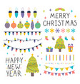 collection of christmas and new year decoration vector image vector image
