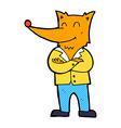 comic cartoon fox in shirt vector image vector image