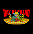 day of the dead skeletons and sombrero vector image