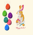 doodle decorative colorful eggs and doodle bunny vector image vector image