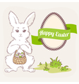 easter bunny with basket egg label and ribbon vector image vector image