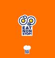 eat nonstop logo restaurant spoon fork infinity vector image vector image