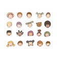faces of children cute cartoon boys and girls vector image