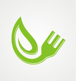 fork green leaf vegetarian organic logo vector image vector image