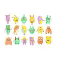 funny cute colorful monsters characters set vector image