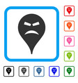 furious smiley map marker framed icon vector image vector image