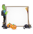 halloween frankenstein sign vector image vector image