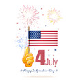 hand with flag united states vector image vector image