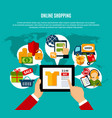 internet shopping flat composition vector image vector image