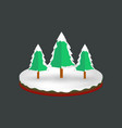 isometric christmas snowy pine trees background vector image vector image
