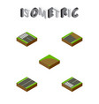 isometric road set of sand strip plane vector image vector image