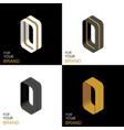 isometric set letter o black white gold palette vector image