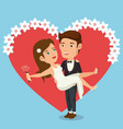 just married couple with hearts avatars characters vector image vector image